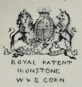W. & E. Corn, Burslem, Longport, England (1864–1891).  Ceres shape saucer (4A-C-0011).