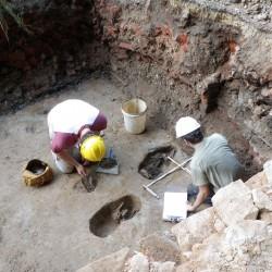 Excavation of pet burials in a basement floor