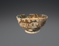 Pearlware tea bowl with brown printed scene (FS# 6.264)